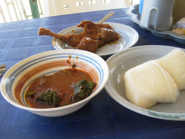 Semolina,Vegetable and stew,Chicken and Goat meat