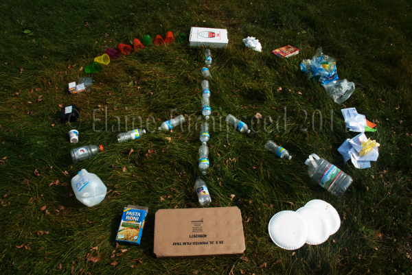 peace sign made out of recyclable materials