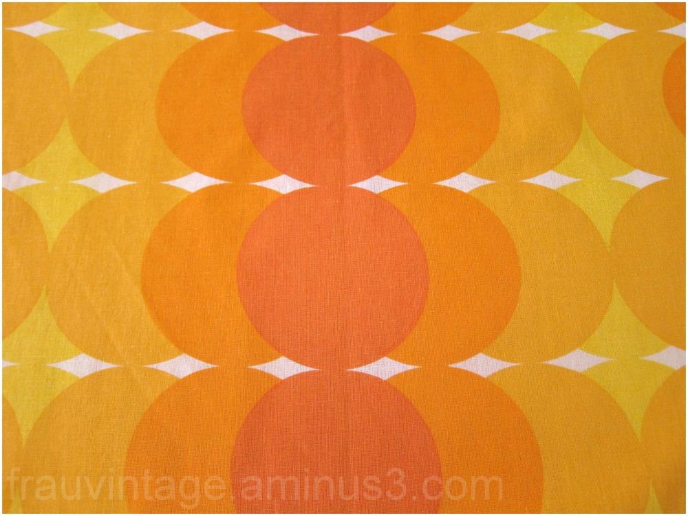 70s Orange Pattern Vintage Retro Pop Fabric