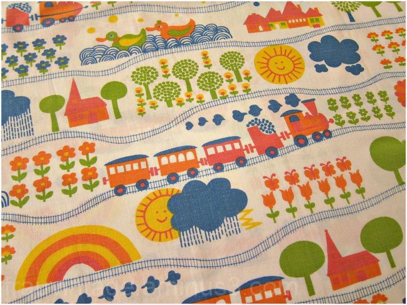 Graziela 70s children cute train fabric transportation for Cute childrens fabric