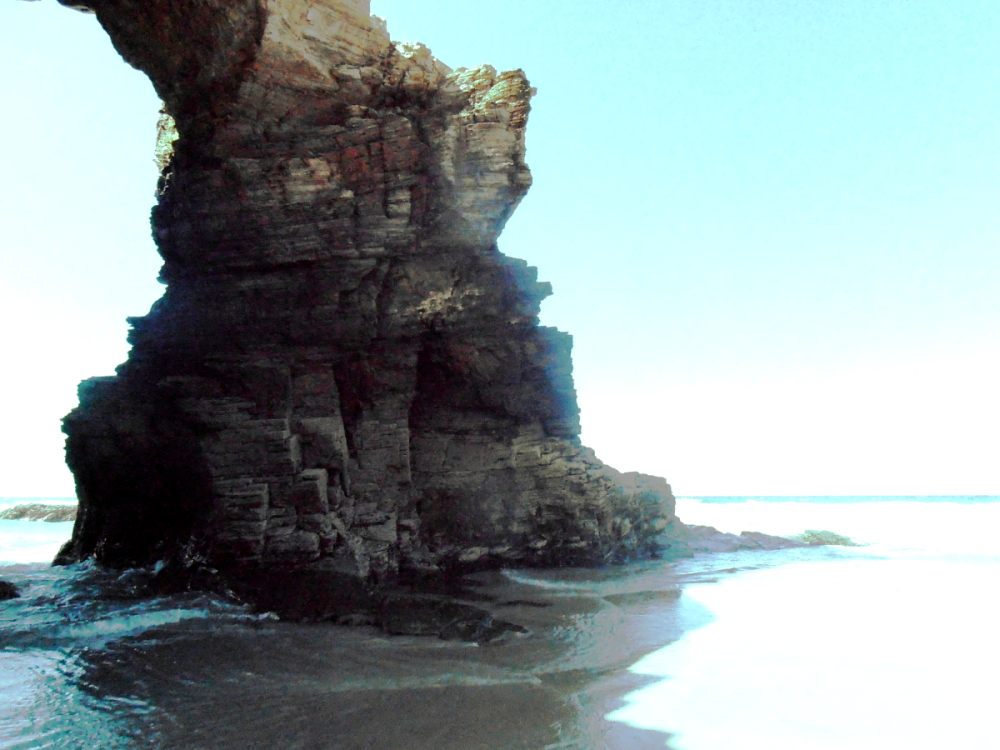 Large rock in the Cathedrals Beach (Lugo-Spain)