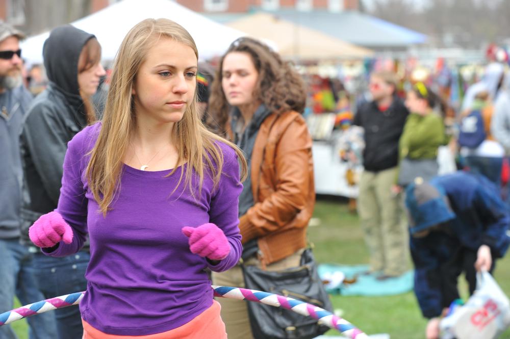 Girl with Mittens Hula Hooping at Extravaganja