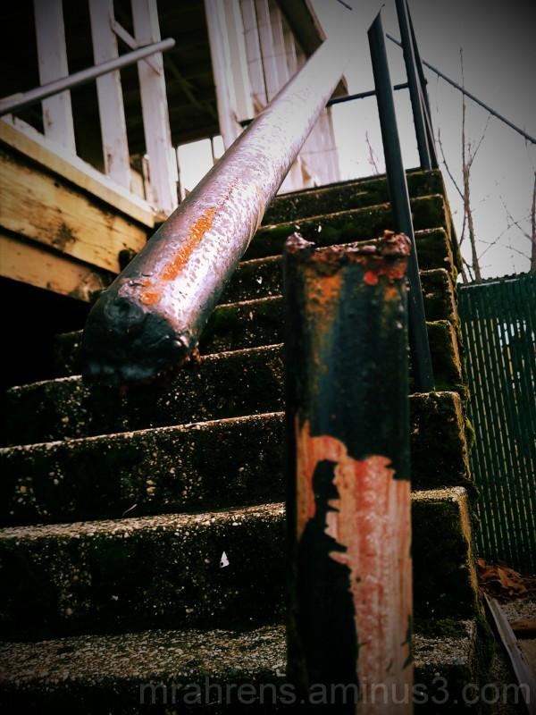 Broken handrail on old hospital