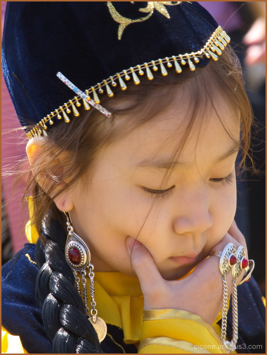 Girl in traditional costume of  Turkmenistan
