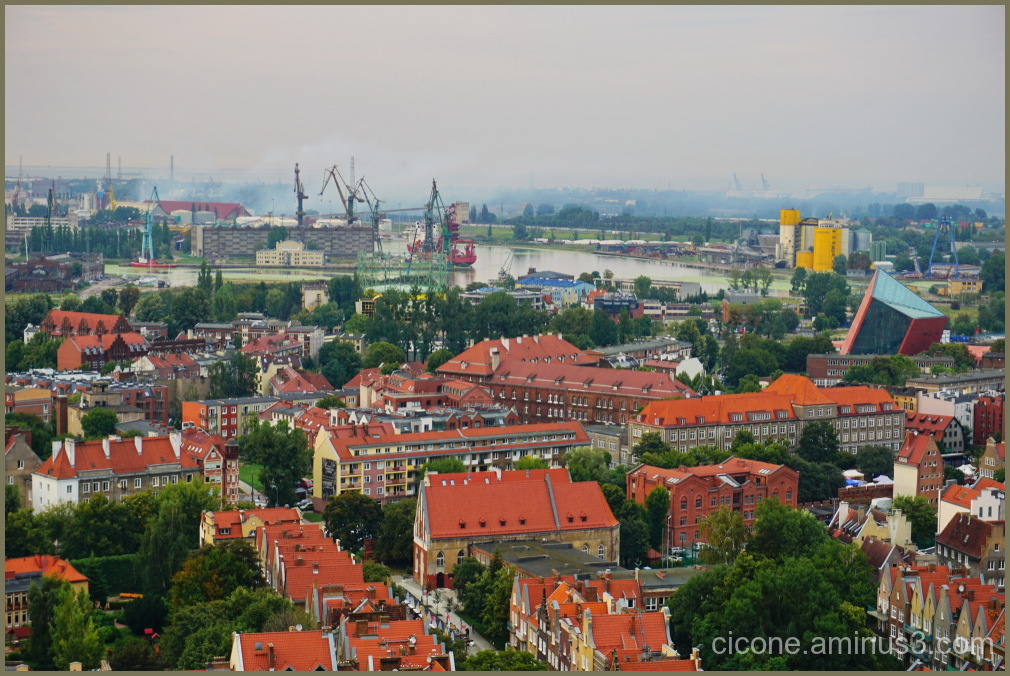 Top view of the city Gdansk