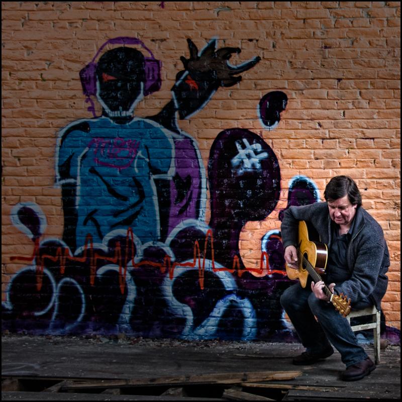 guitar, graffiti