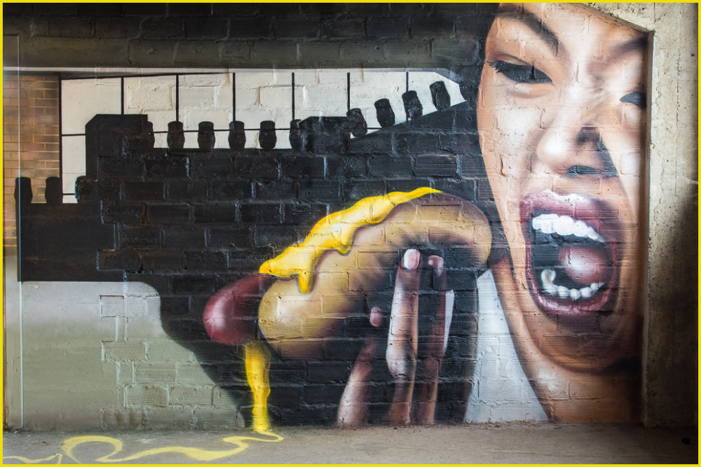 graffiti, food