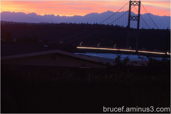 Olympic Mountains with Sunset over Narrows Bridge