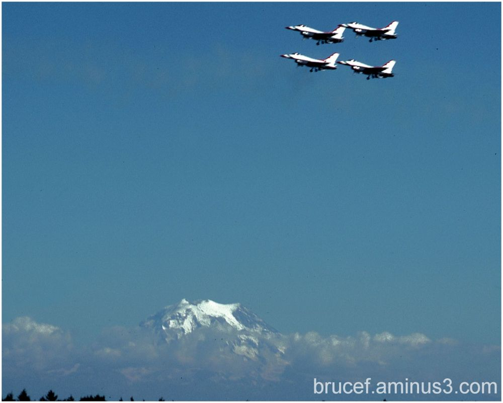 USAF Thunderbird s flying near  Mt Rainier