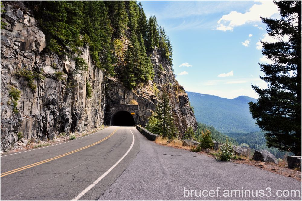 A tunnel on the drive around Mt Rainier.
