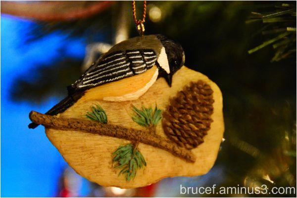 Christmas Ornaments - Bird on Wood on  a Tree