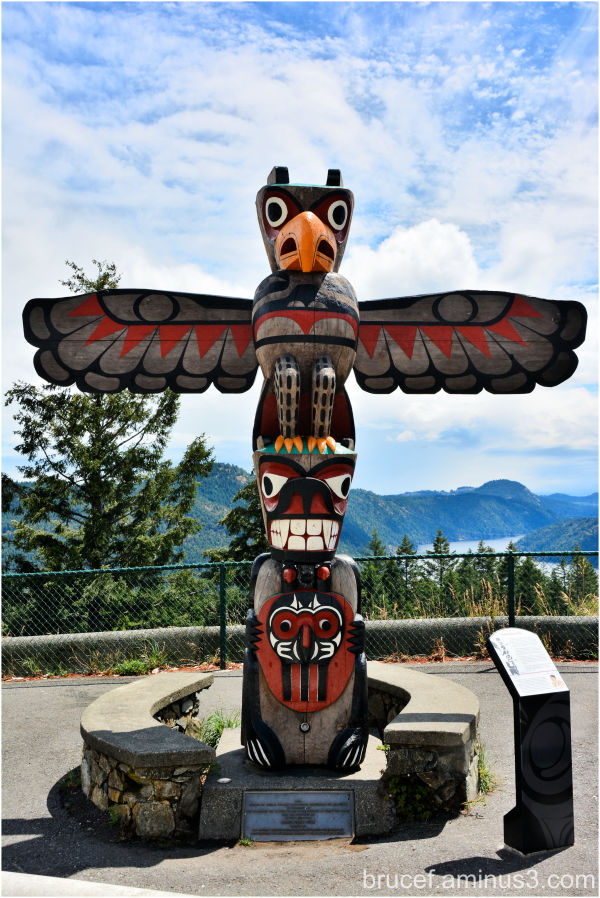 Salish Bear Pole  Route of the Totems