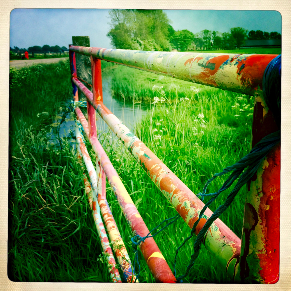 multi coloured fence meadow hek