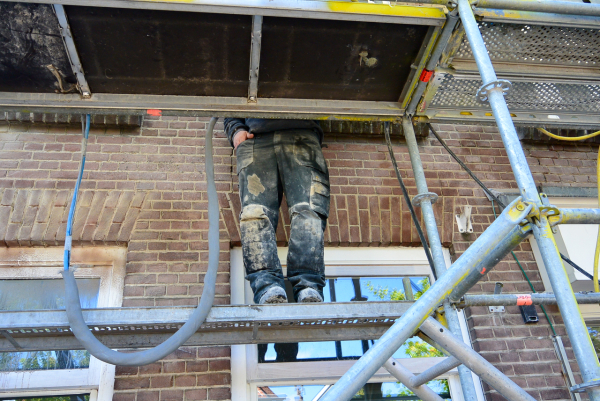 scaffolding steiger gevel stof dust