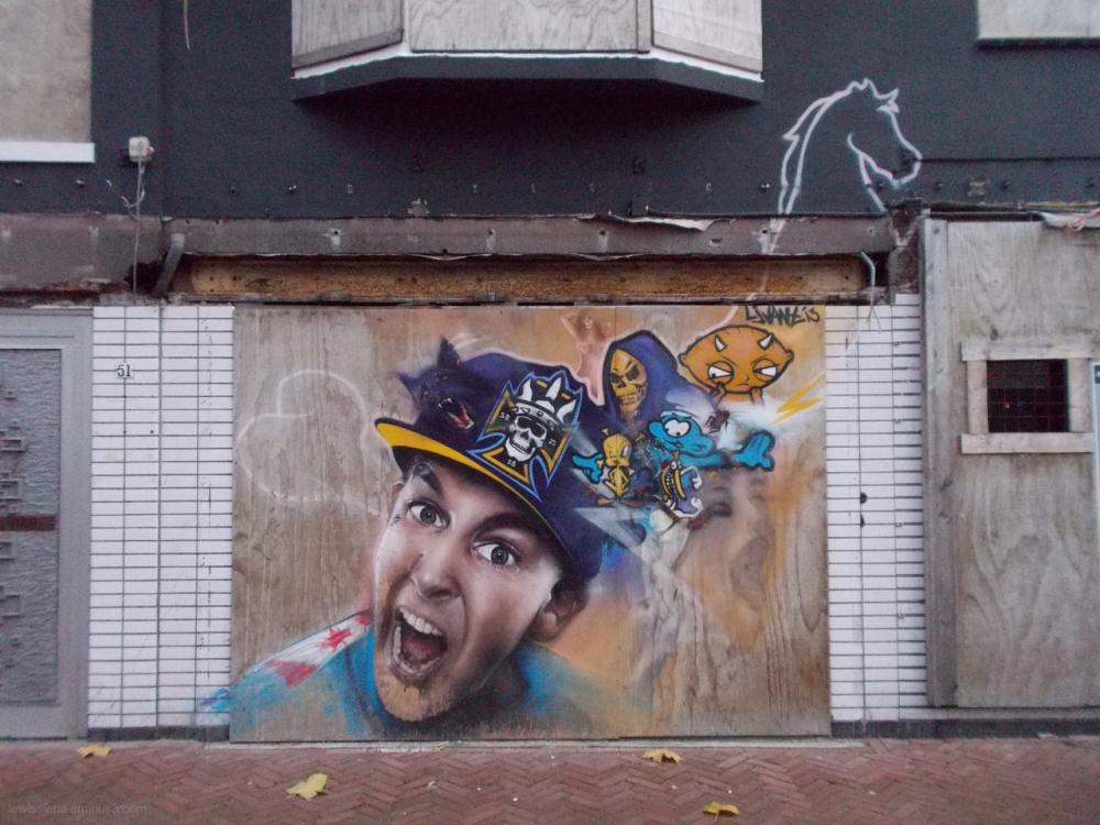 graffiti tweety stewie skull wolf guy paard horse