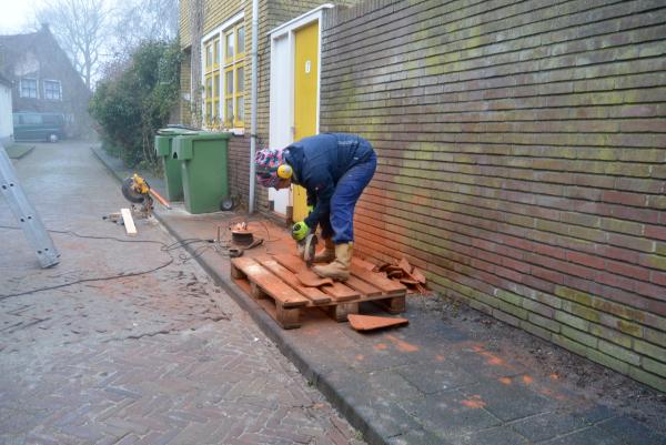 roofing tile cutter dakpan vrouw woman