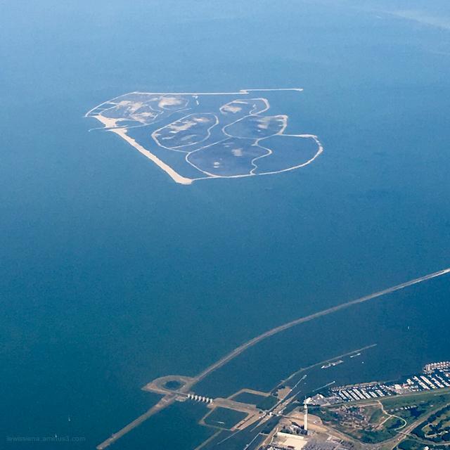 view from plane dutch coast