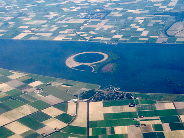 view from plane dutch coast