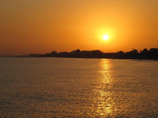 Caspian sea summer sunset