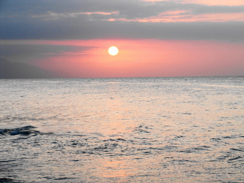 sunset caspian-sea bandar-torkman iran