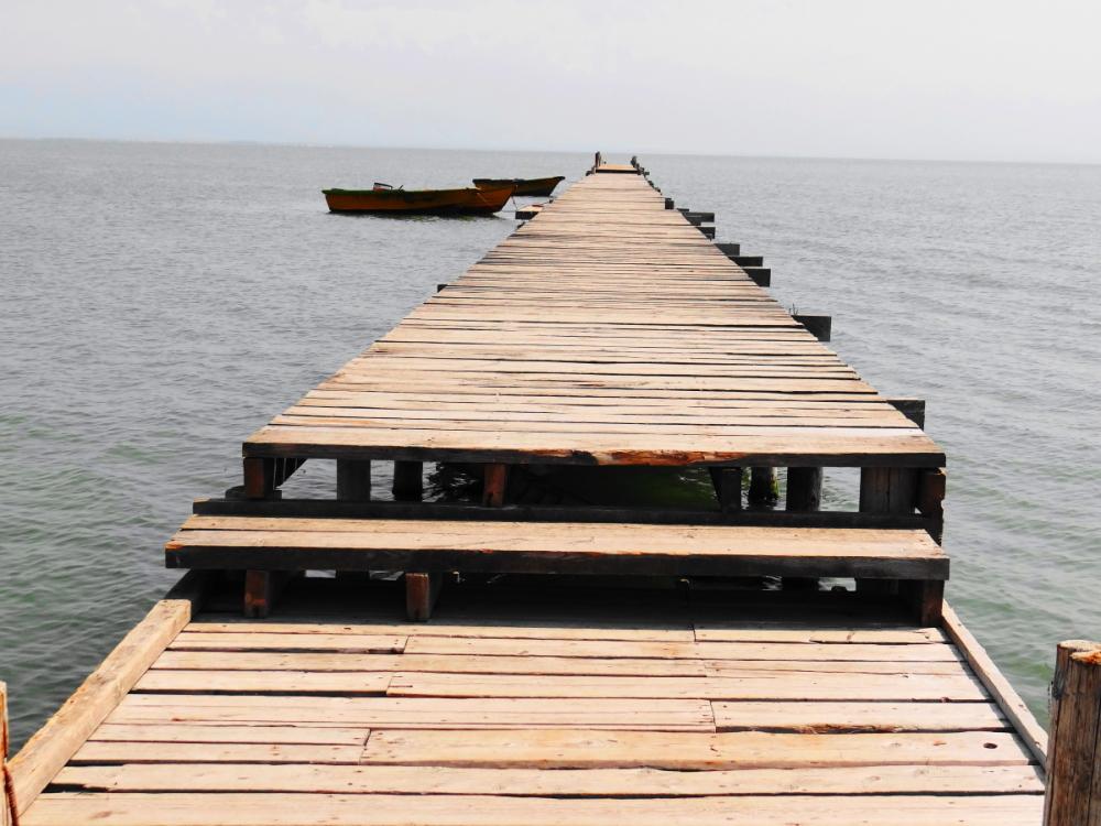 Wooden pier ashooradeh-island golestan iran