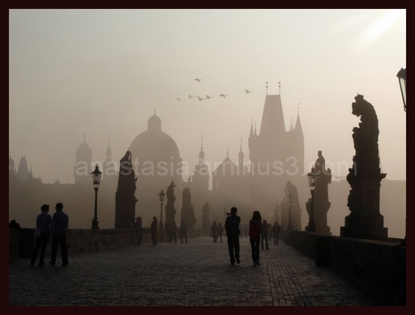 Nice view on the Charles bridge from Prague.