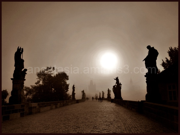 In the morning on the Charles bridge.