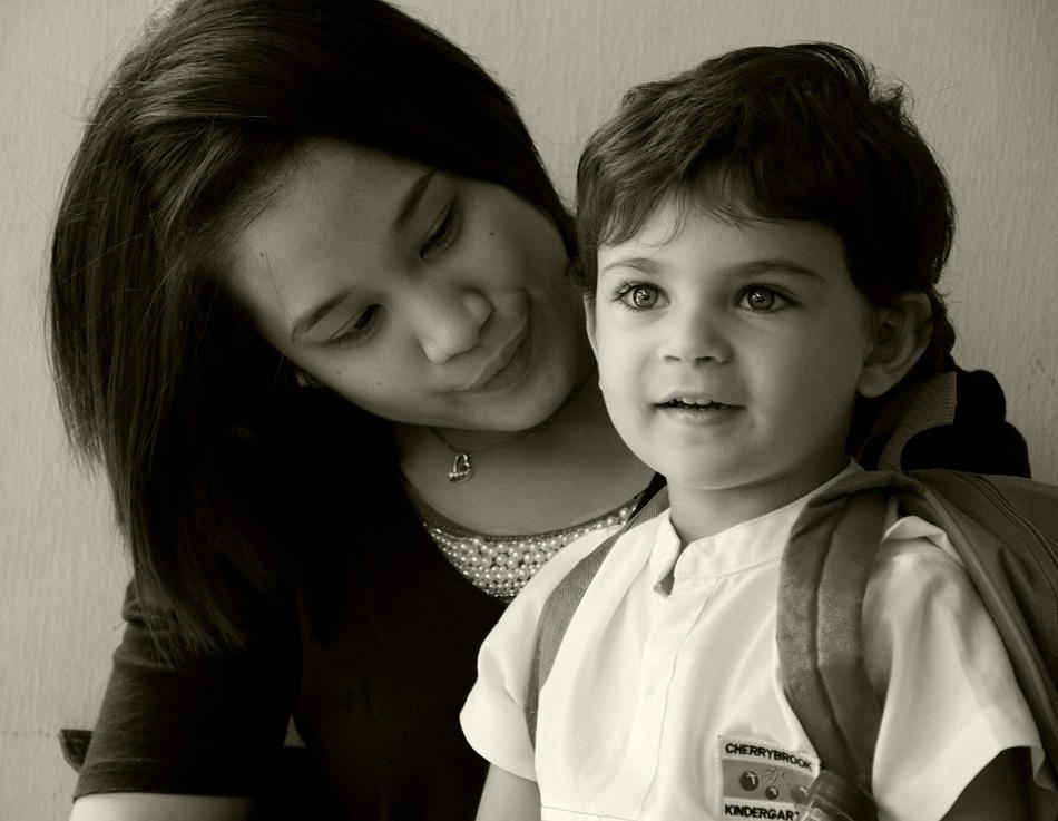 Kids, portrait, black and white