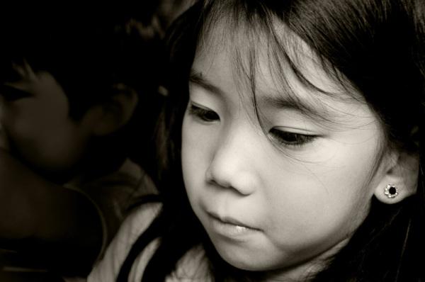 Portrait, kids, black and white