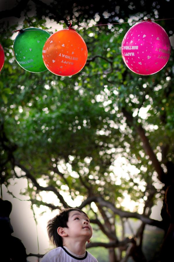 Kids portrait, party, balloons
