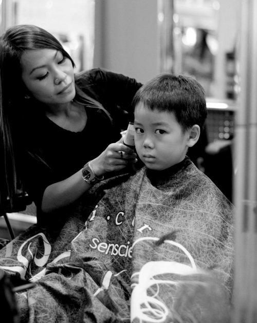 Kids portrait, haircut, black and white