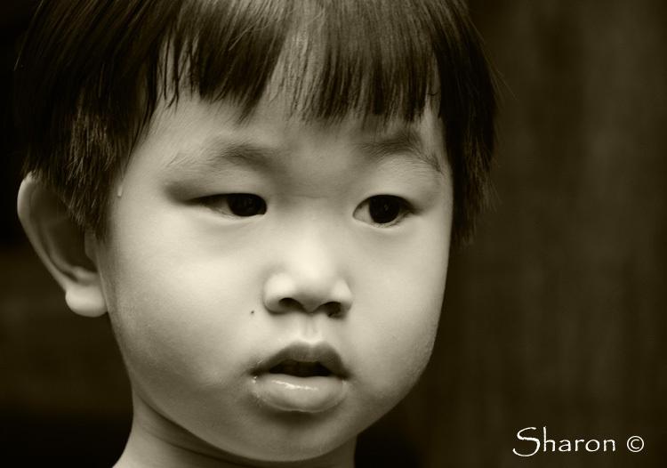 Kids portrait black and white