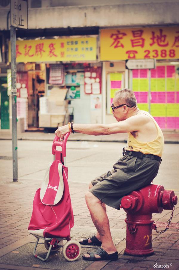 Elderly man taking a rest