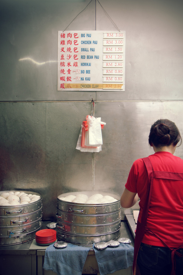 Steamed buns, paus, coffee shop, Kuching