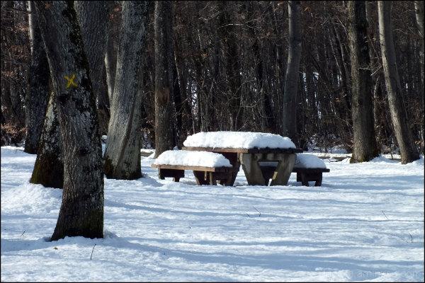 la neige sur le banc