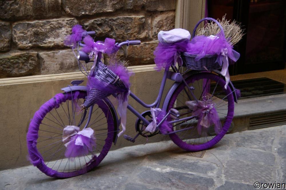 Aangeklede fiets voor een lavendelwinkel.