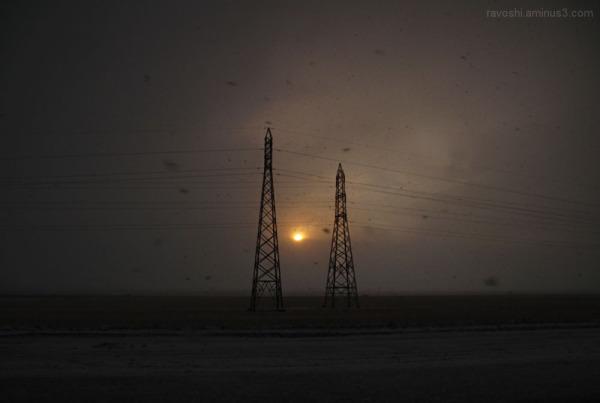 sun sunset dark structure mast snow cold
