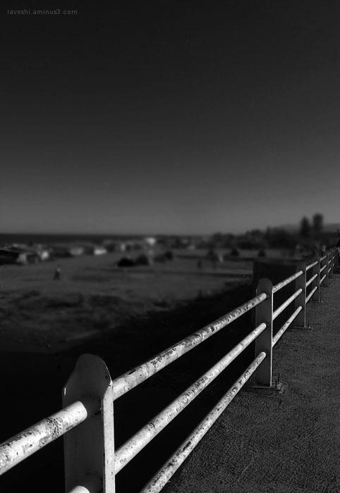 beach, dark, black and white, fence