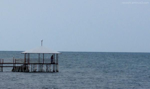 Fishing, sea, bower, alcove, sky, blue, calm