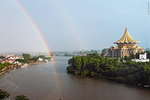 Rainbow over Sarawak River, Kuching, Malaysia