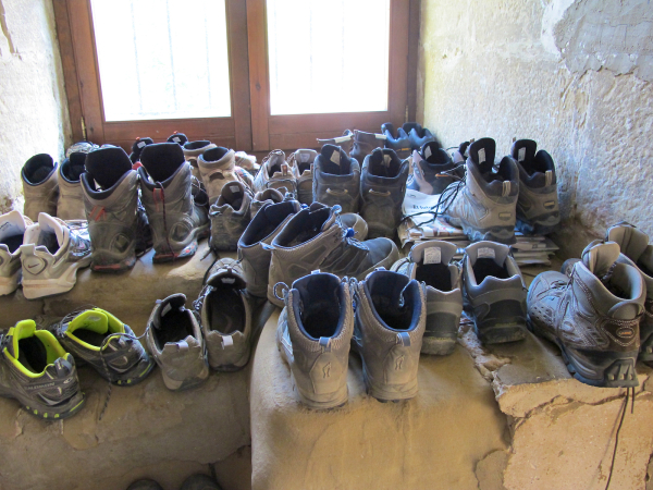 Boots in hostel, Granon Spain