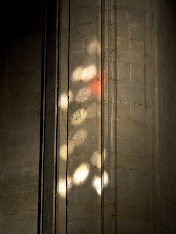 Reflection of stained glass windows, Logrono
