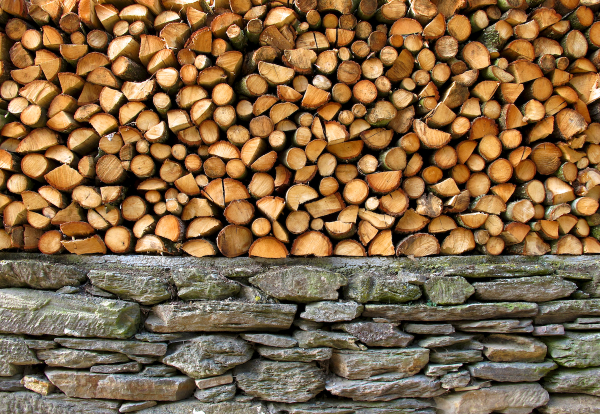 Wood and rocks
