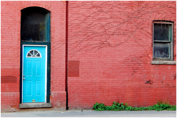 A blue door and a window