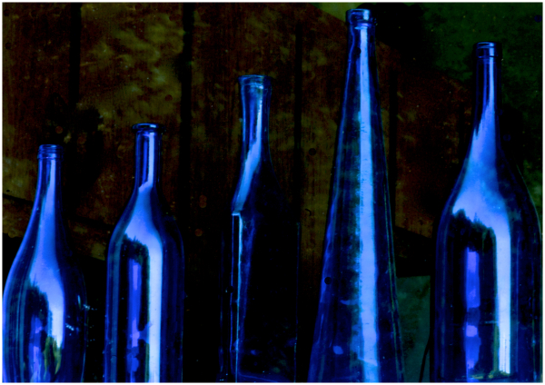 Blue bottles in the window