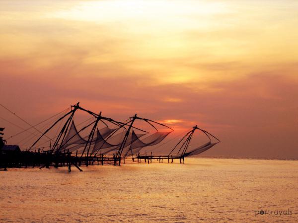 Sunset though nets Cochin India
