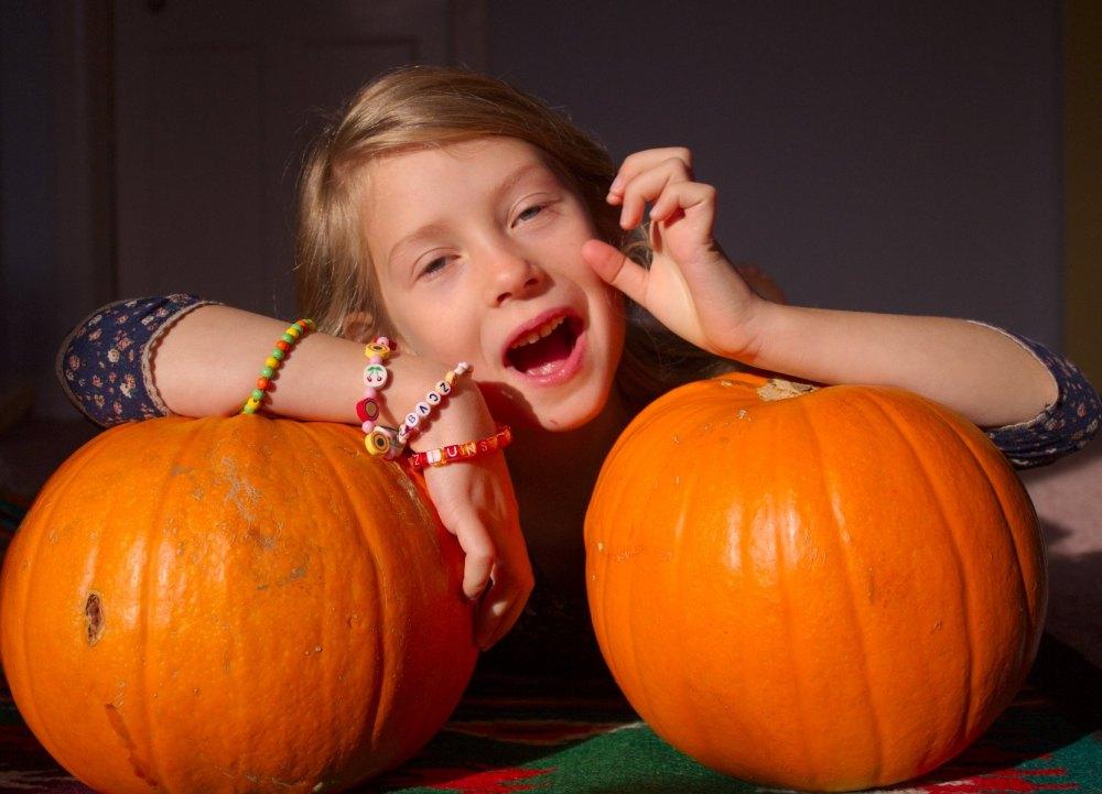 Portraits. With pumpkin