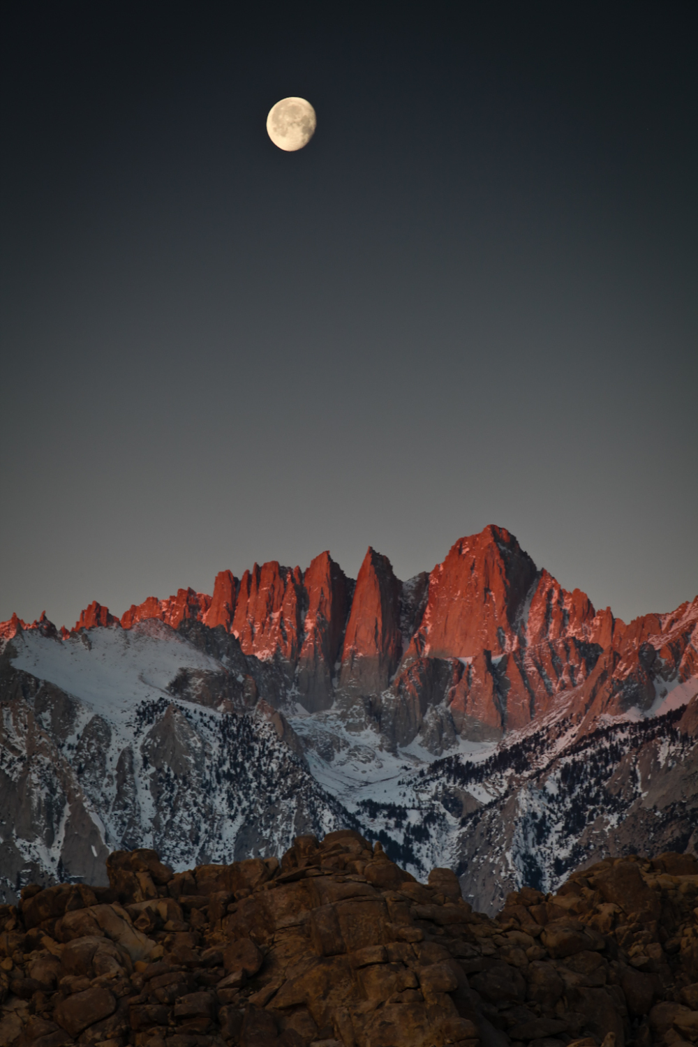Moonset and Alpenglow on Mount Whitney California