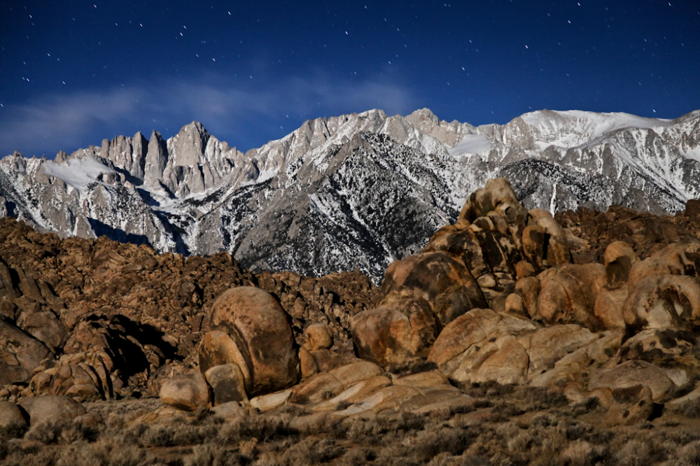 Night time shot of Mt. Whitney