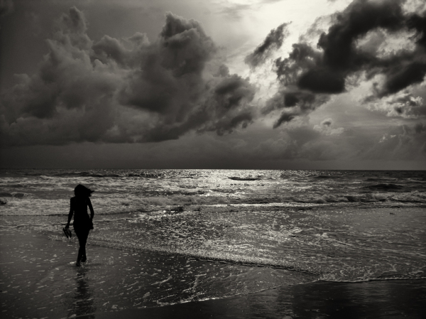 Walk on the beach before the storm